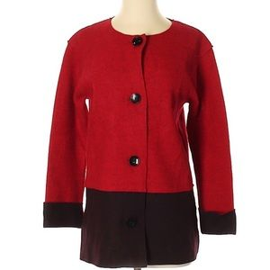 Jones New York Jacket color block red and black